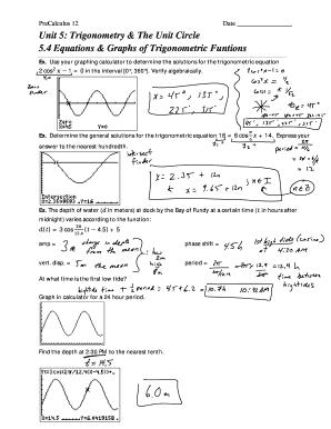 Unit 5 Trigonometry The Circle 4 Equations Graphs