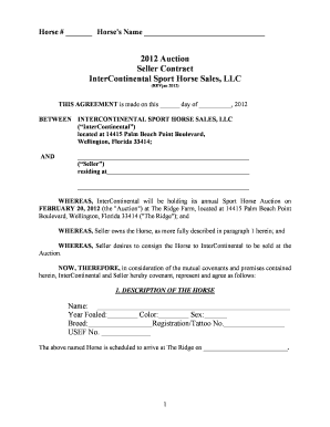 Horse Sales Contract | Horse Sale Agreement Forms And Templates Fillable Printable