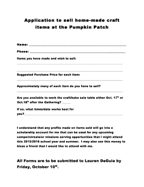 Fillable Online Application To Crafts At The Pumpkin Patch 1docx Fax