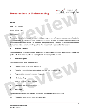 Template: Memorandum of Understanding - Young Enterprise - youngenterprise org