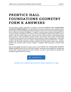 Prentice Hall Foundations Geometry Answers Form