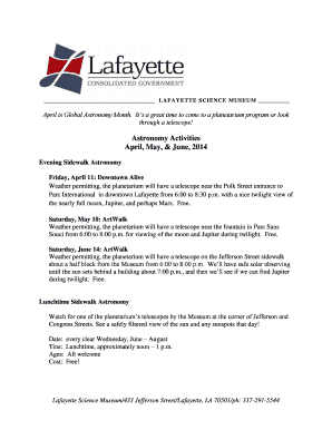 Sky Events Calendar April, May, and June, 2014 - Lafayette ...