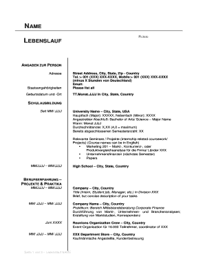 Fillable Online Steuben Schurz German Resume Example A