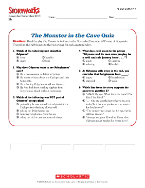 The Monster in the Cave Quiz - Scholastic