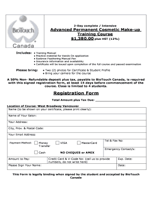 Fillable Online New Advanced Registration Form 2008 - BioTouch Fax