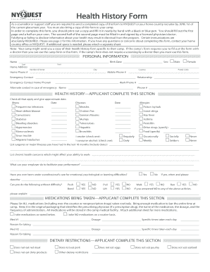 fillable online health history form camp canada fax email print
