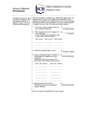 28 printable checking account balance worksheet forms and templates