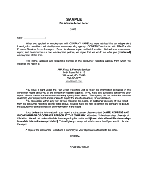 pre adverse action letter sample   Fill Out Online Documents