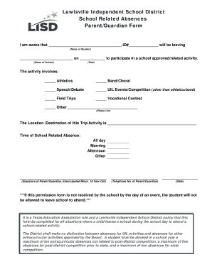 Field Trip Permission Form English pdf - Lewisville ISD