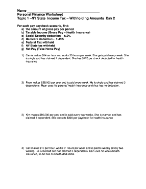 fillable online name personal finance worksheet topic 1 ny state
