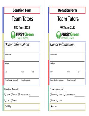 Fillable Online teamtators Donation Form Team Tators