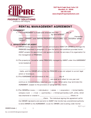 RENTAL MANAGEMENT AGREEMENT - Empire Property Solutions