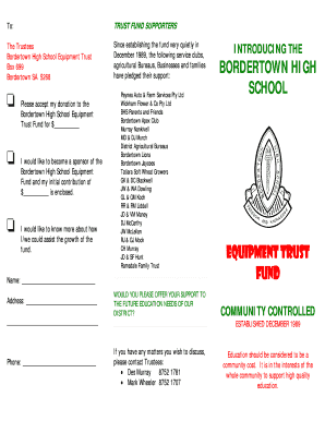 To TRUST FUND SUPPORTERS - Bordertown High School