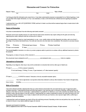 Fillable online discussion and consent for extraction dental risk rate this form thecheapjerseys Images