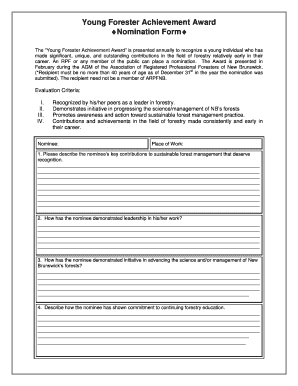 Young Forester Achievement Award Nomination Form - arpfnb