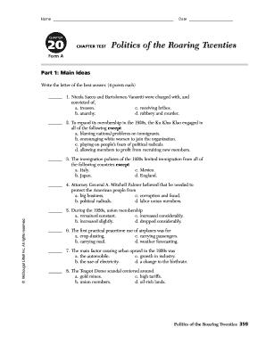 The Roaring Twenties Worksheet Pdf - Fill Online, Printable ...