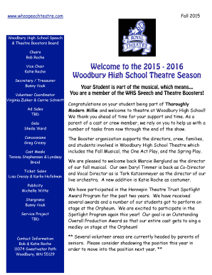 Welcome to the 2015 - 2016 Woodbury High School Theatre Season