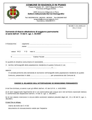 Fillable Online comune bagnolo re richiesta attestato ...
