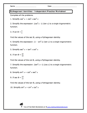 Fillable Online Pythagorean Identities Independent Practice