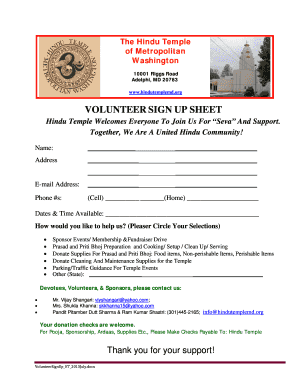 Volunteer sign up sheet - The Hindu Temple of Metropolitan ... - hindutemplemd