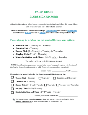 fillable online clubs sign up form