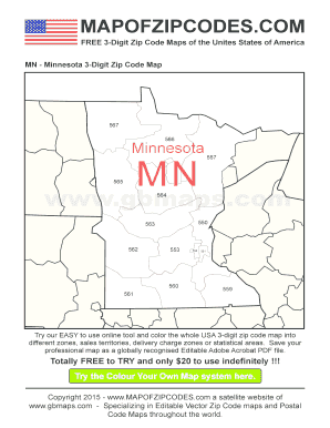 minnesota zip codes map 3 Digit Zip Code Map Fill Online Printable Fillable Blank Pdffiller minnesota zip codes map