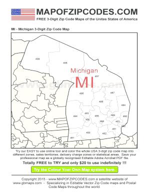 Fillable Online Michigan Usa Zipcode Maps 3 Digit Zip Code Map Fax