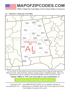 Fillable line AL Alabama 3 Digit Zip Code Map A bespoke usa zip