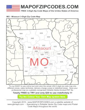 Fillable Online Missouri PDF 3-Digit Zip Code Map - USA Zipcode Maps ...