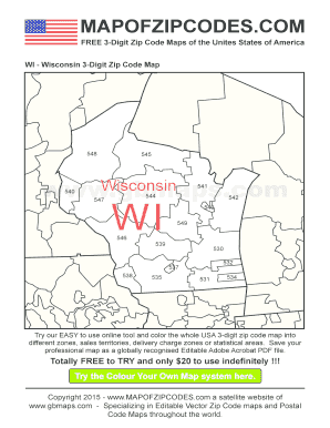 Fillable Online Wisconsin Zip Code Boundary Map (WI) - a Zip ...