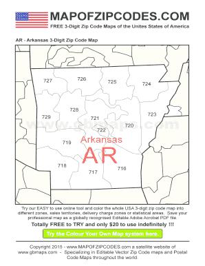 Zip Code Map Arkansas.Fillable Online Ar Arkansas 3 Digit Zip Code Map A Bespoke Usa Zip