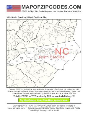 Fillable Online North Carolina - USA Zipcode Maps 3-Digit Zip code ...