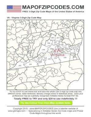 Fillable Online Virginia - USA Zipcode Maps 3-Digit Zip code Map Fax ...