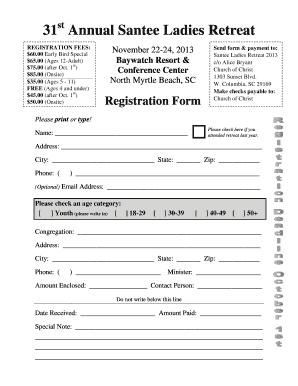 Santee Ladies Retreat 2016 Form