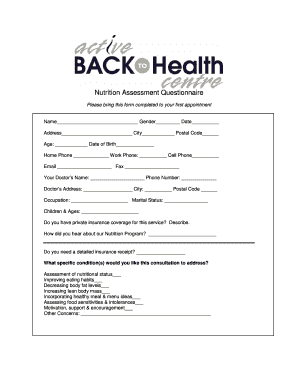 nutritional assessment questionnaire forms fillable printable