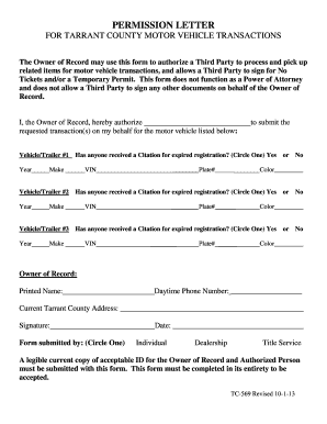 Fillable Online Permission letter - Tarrant County Fax Email Print - PDFfiller