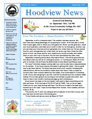 September 2014 Hoodview News - Hoodview Amateur Radio Club