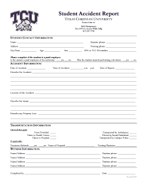 Student Accident Report - Texas Christian University Fill