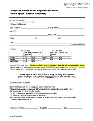 Fillable Online Computer-Based Exam Registration bFormb Non-Kaplan