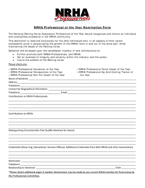 NRHA Professional of the Year Nomination Form