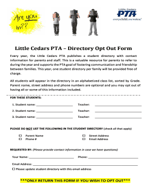 Little Cedars PTA Directory Opt Out Form - littlecedarspta