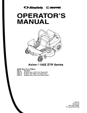 snapper mower operator s manual