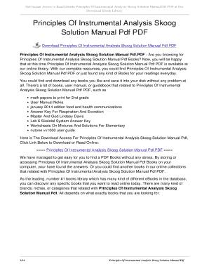 principles of instrumental analysis skoog 5th edition pdf fill rh pdffiller com Skoog Will Skoog Productions