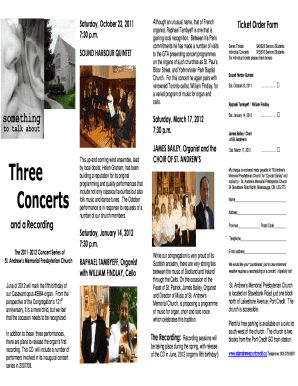 Three Concerts - St. Andrew's Memorial Presbyterian Church - standrewsportcredit