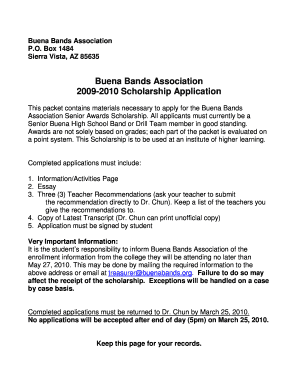 Buena Bands Association 2009 2010 Scholarship Application