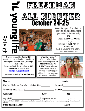 Fillable Online Freshman All-Nighter 2014 w/ health form