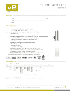 400 Lx Tm Sconce Lighting Group Project Job Notes Type Part Specifications Source Xicato