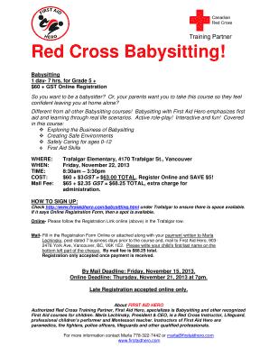 red cross babysitting trafalgar pac