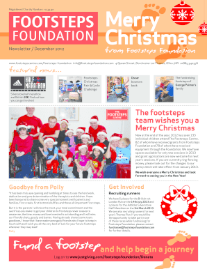 Footsteps Christmas Newsletter Dec 2012 - Footsteps Centre