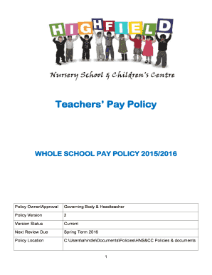 Fillable Online Teachers 39 Pay Policy Highfield Nursery